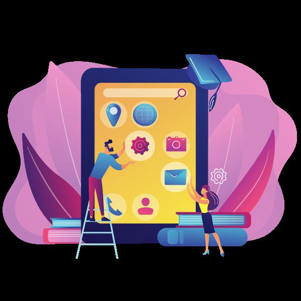e learning education process training application mobile app development courses mobile apps online courses become mobile developer concept 1 - Wbcom Designs