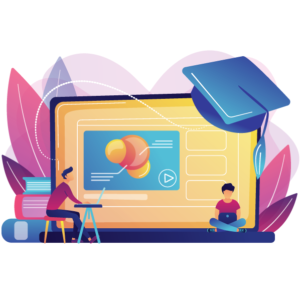 students using e learning platform video laptop graduation cap online education platform e learning platform online teaching concept - Wbcom Designs