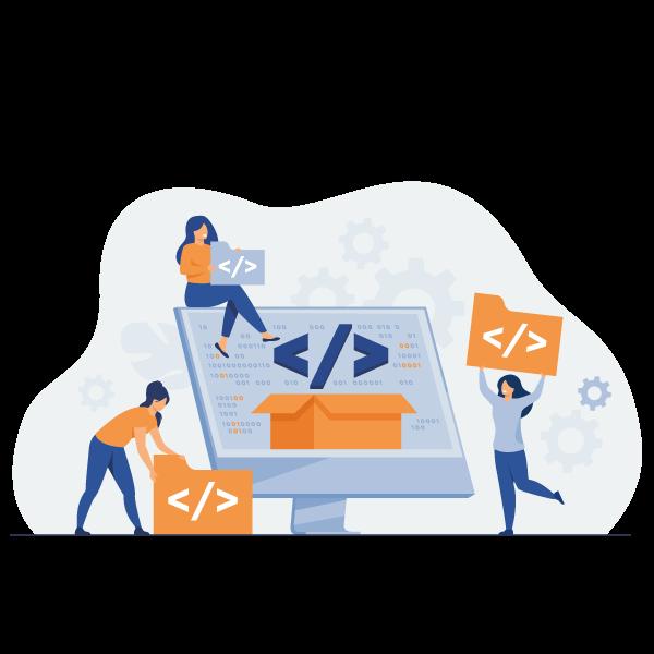 tiny developers programming website internet platform flat vector illustration cartoon programmers near screen with open code script software development digital technology concept - Wbcom Designs