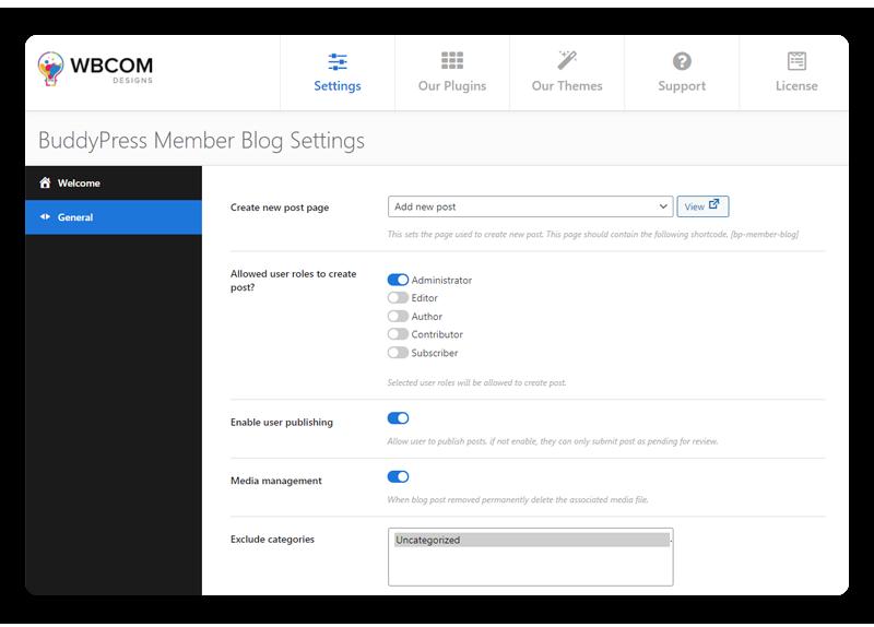 BuddyPress Member Blog - Wbcom Designs