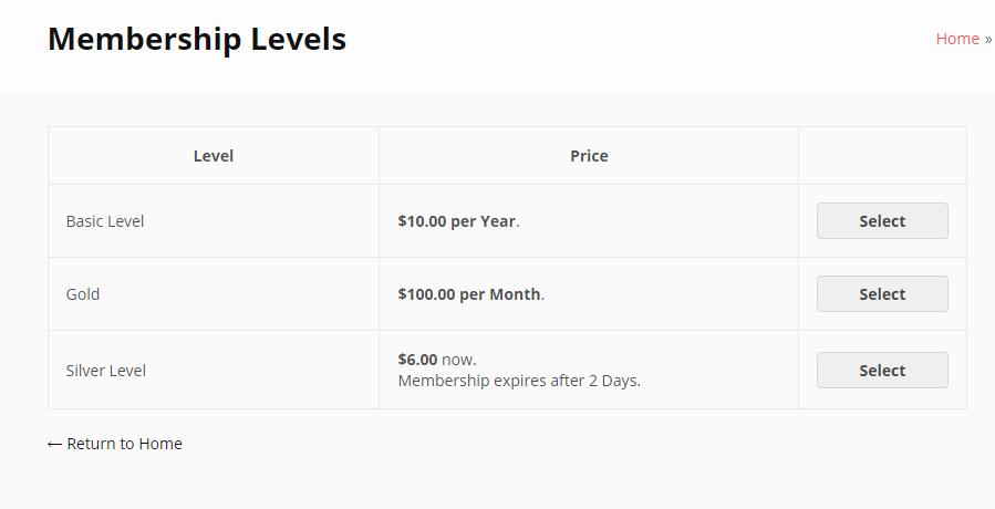 membership levels - Wbcom Designs