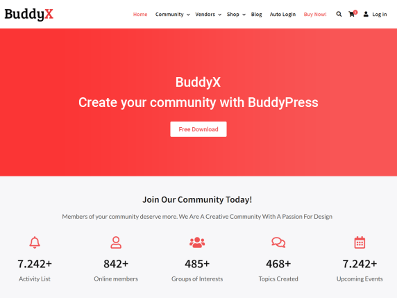 BuddyX, Free BuddyPress Theme