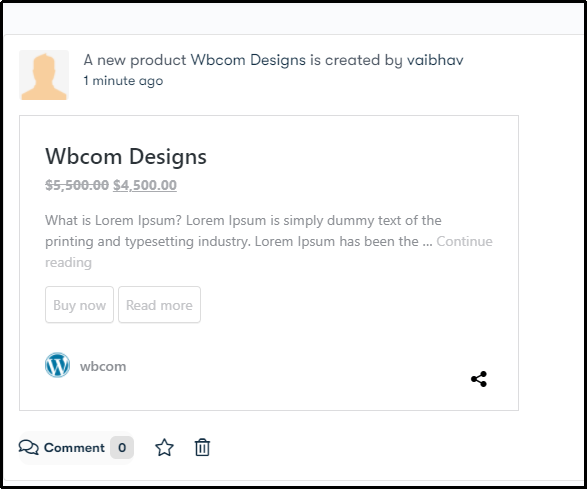 Product Activity Page