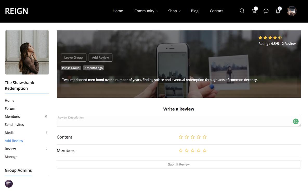 BuddyPress Group Reviews