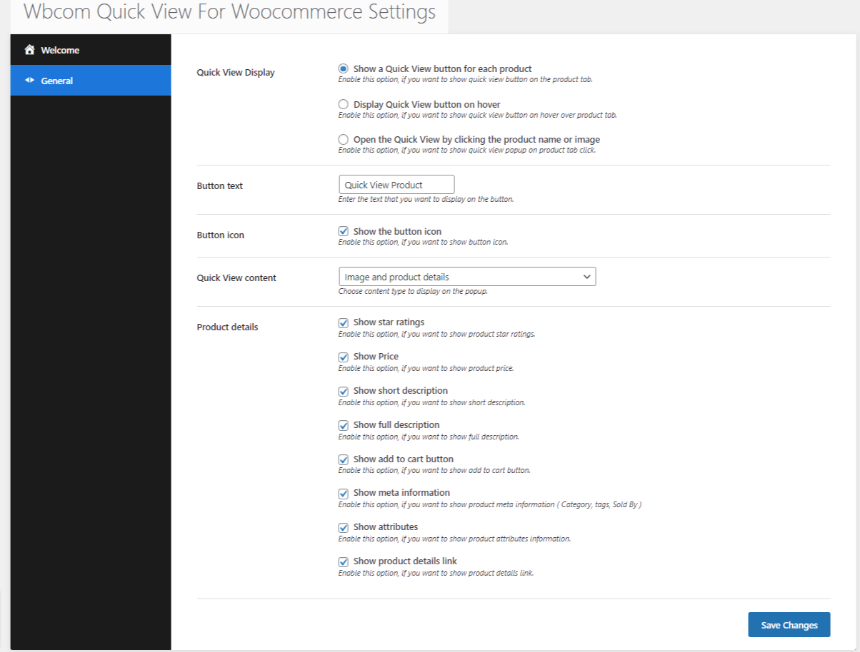 Quick View for WooCommerce Backend Setting