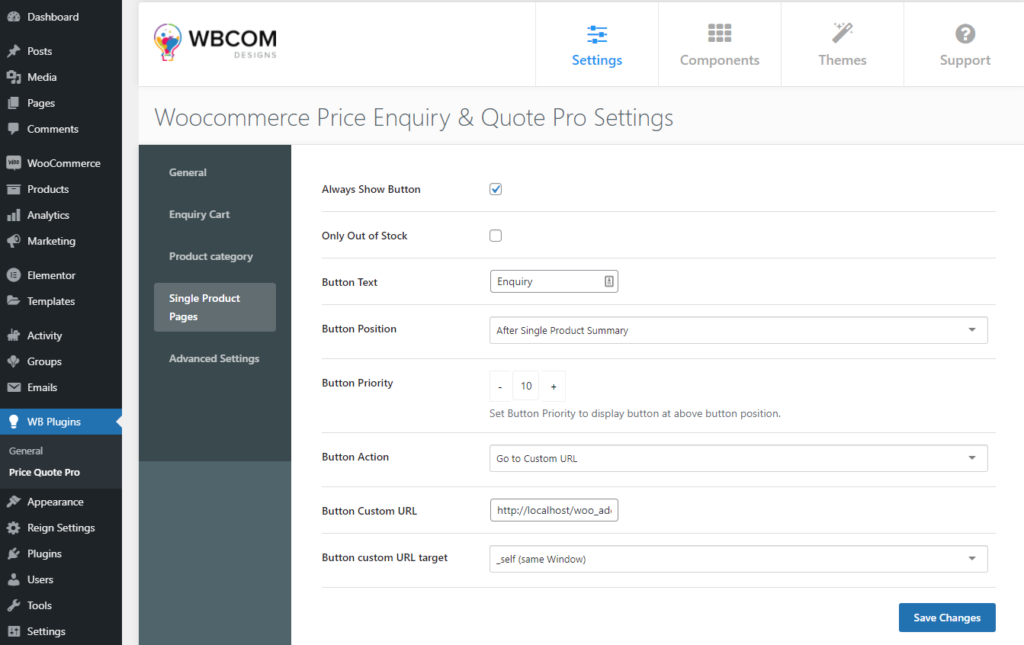 Single Product Page Settings