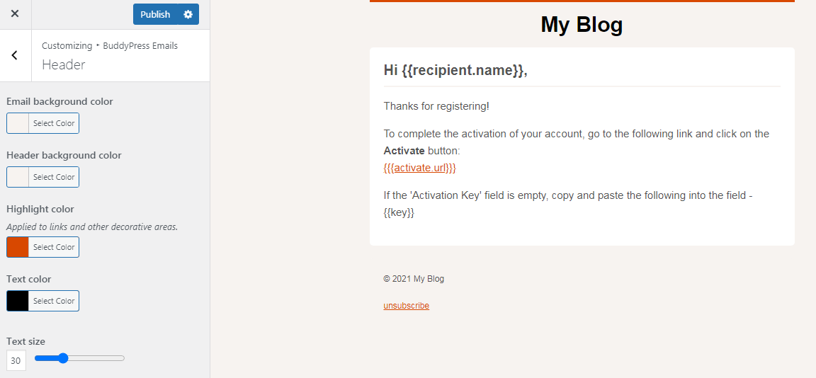 customize buddypress emails header