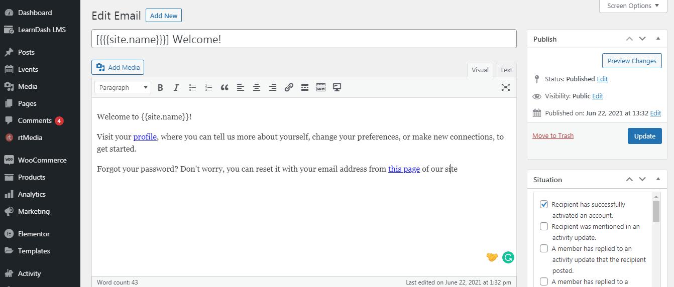 change buddypress emails content